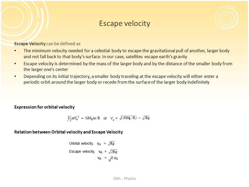 Escape velocity Escape Velocity can be defined as The minimum velocity needed for a celestial body to escape the gravitational pull of another, larger body and not fall back to that body s surface.