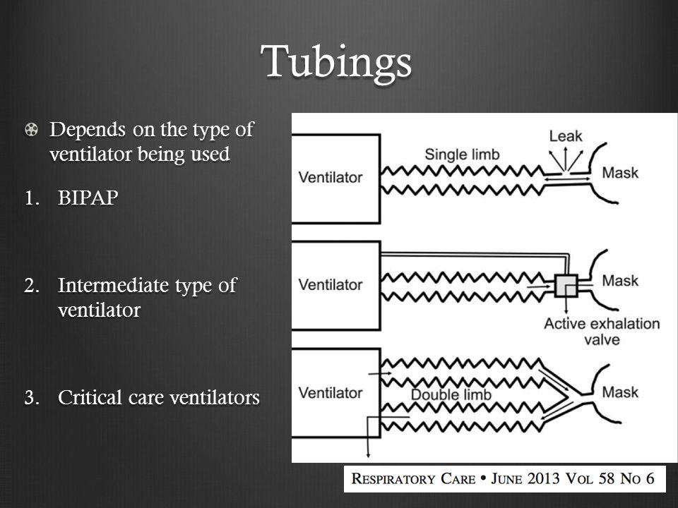 Tubings Depends on the type of ventilator being used 1.BIPAP 2.Intermediate type of ventilator 3.Critical care ventilators