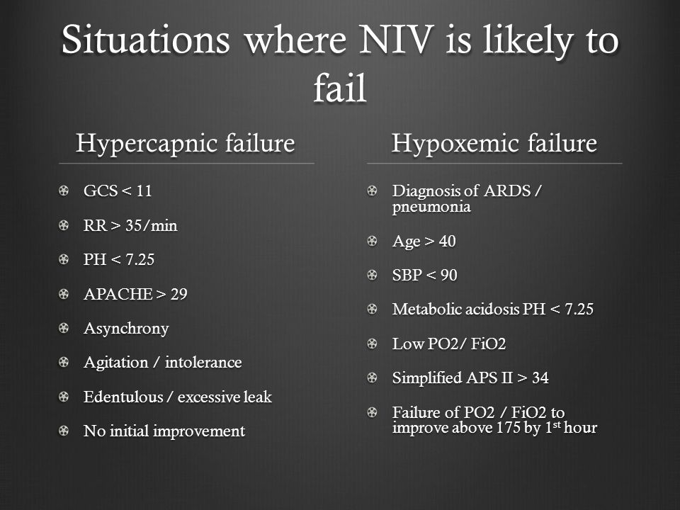 Situations where NIV is likely to fail Hypercapnic failure GCS < 11 RR > 35/min PH < 7.25 APACHE > 29 Asynchrony Agitation / intolerance Edentulous / excessive leak No initial improvement Hypoxemic failure Diagnosis of ARDS / pneumonia Age > 40 SBP < 90 Metabolic acidosis PH < 7.25 Low PO2/ FiO2 Simplified APS II > 34 Failure of PO2 / FiO2 to improve above 175 by 1 st hour