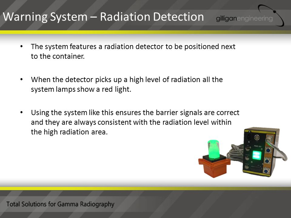 The system features a radiation detector to be positioned next to the container.