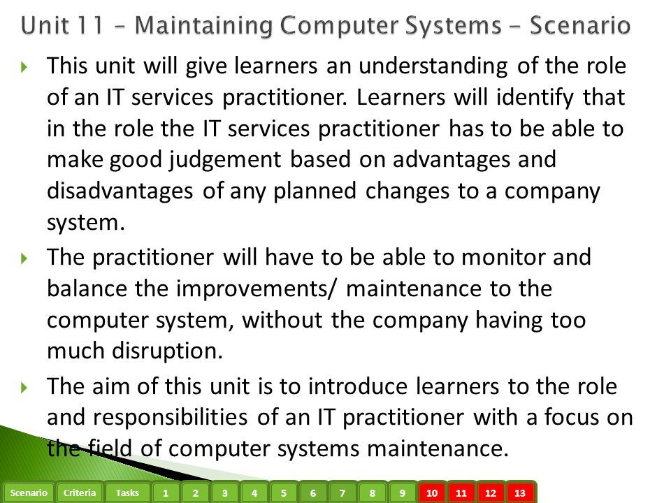 ScenarioTasks 1234910111213 Criteria 5678  This unit will give learners an understanding of the role of an IT services practitioner. Learners will id