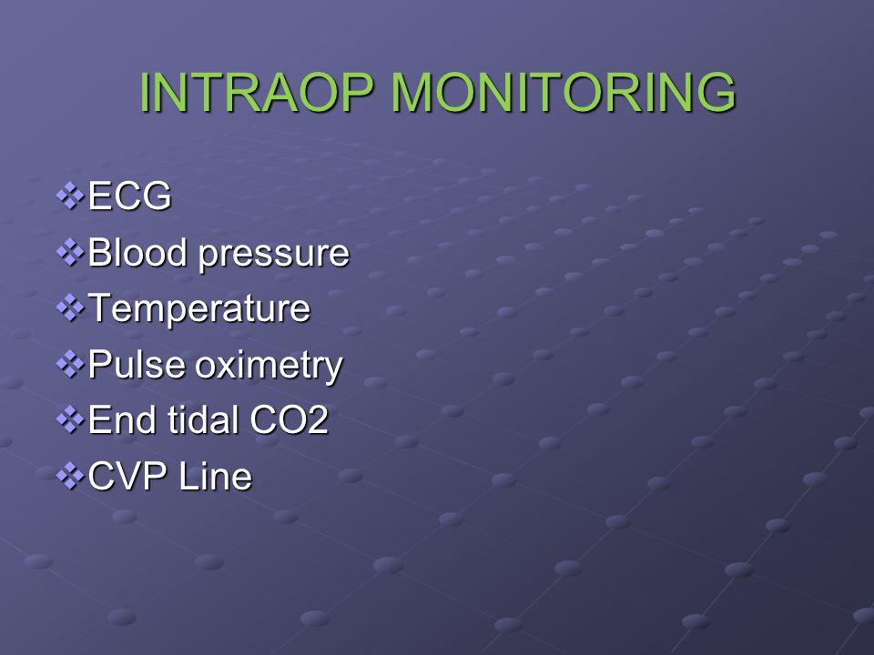 INTRAOP MONITORING  ECG  Blood pressure  Temperature  Pulse oximetry  End tidal CO2  CVP Line