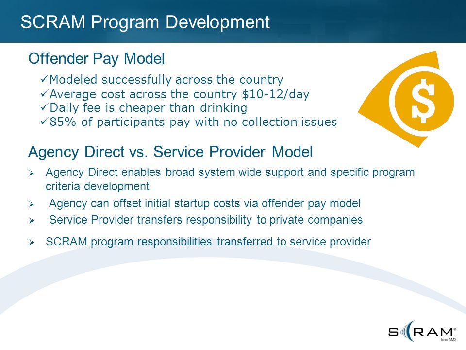 SCRAM Program Development Offender Pay Model Agency Direct vs.
