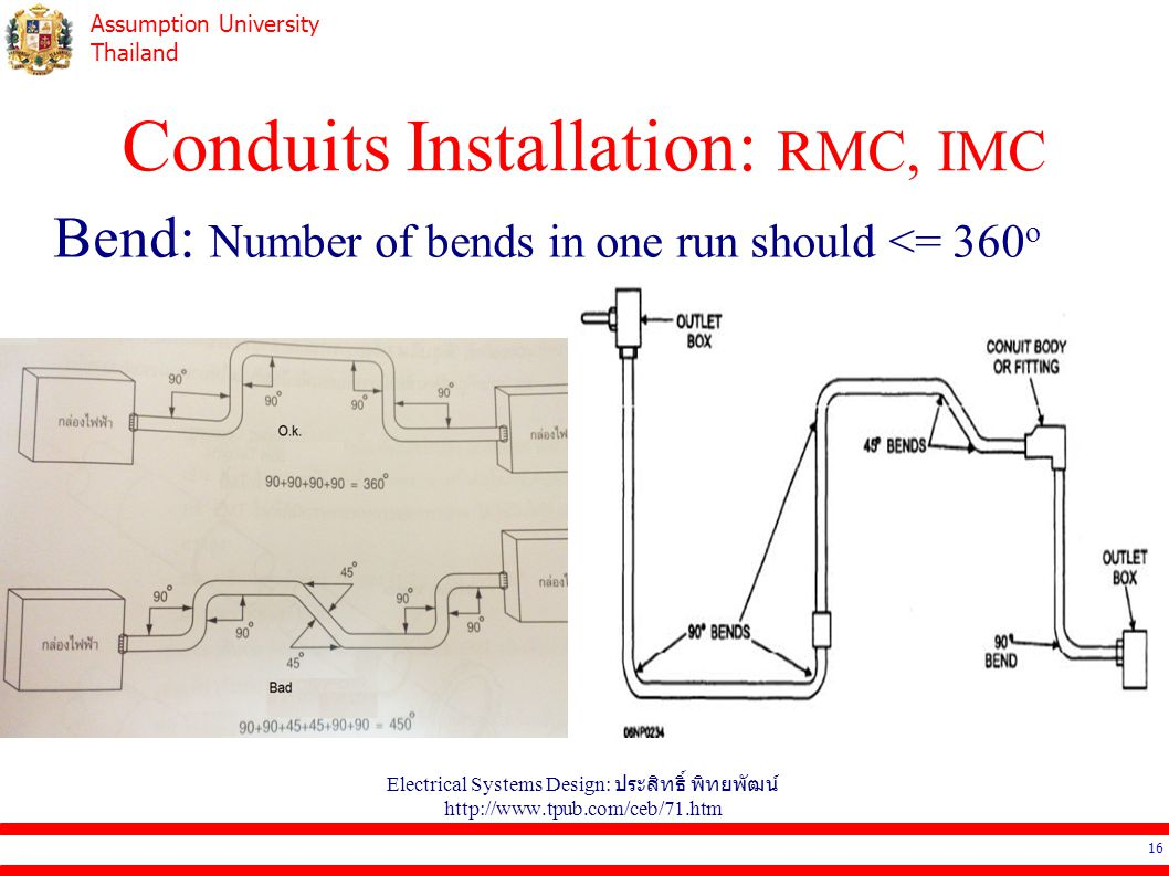 Assumption University Thailand Conduits Installation: RMC, IMC Electrical Systems Design: ประสิทธิ์ พิทยพัฒน์ http://www.tpub.com/ceb/71.htm 16 Bend: Number of bends in one run should <= 360 o