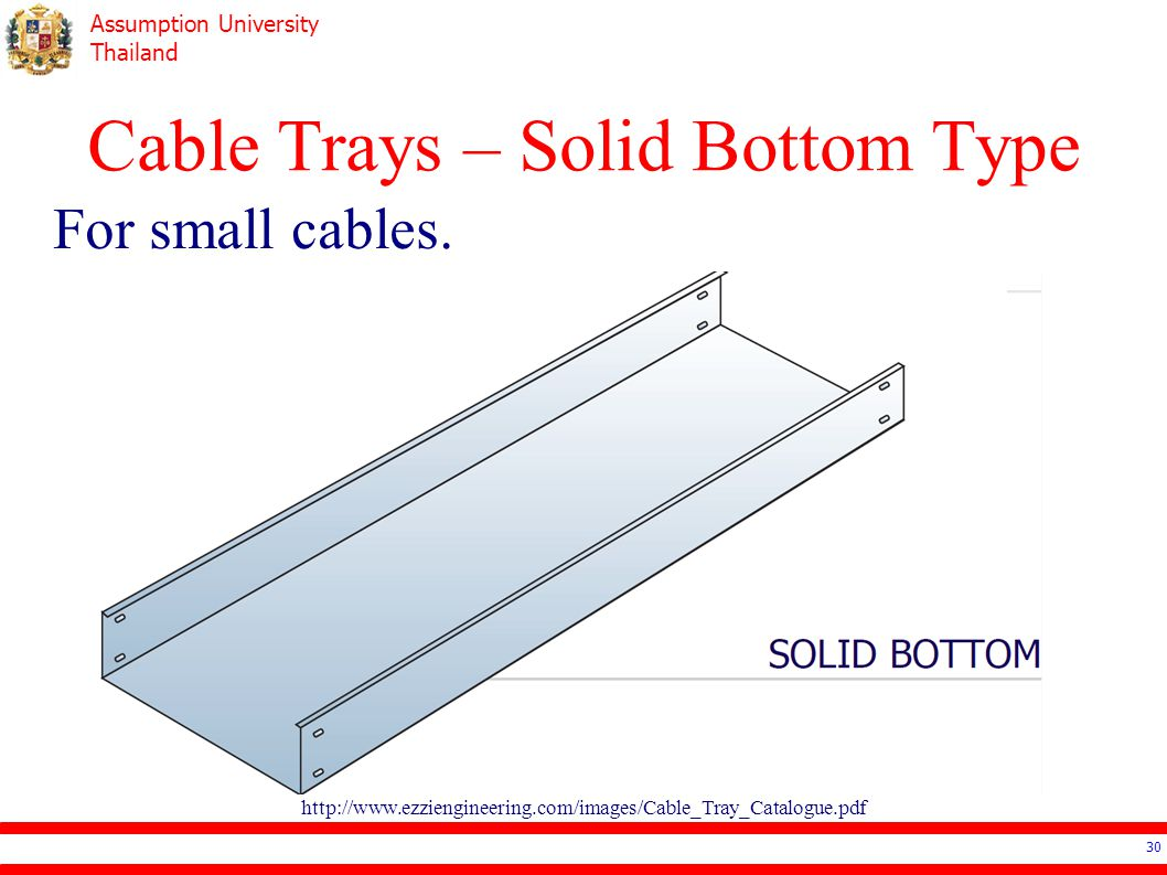 Assumption University Thailand Cable Trays – Solid Bottom Type For small cables.