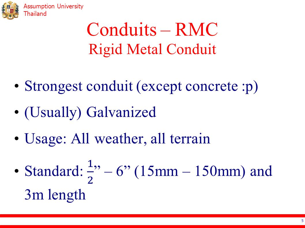 Assumption University Thailand Conduits – RMC Rigid Metal Conduit 5