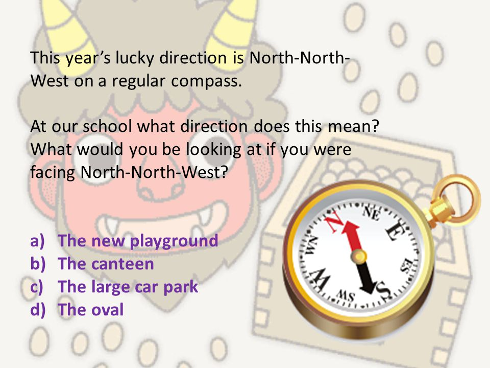 This year's lucky direction is North-North- West on a regular compass. At our school what direction does this mean? What would you be looking at if yo