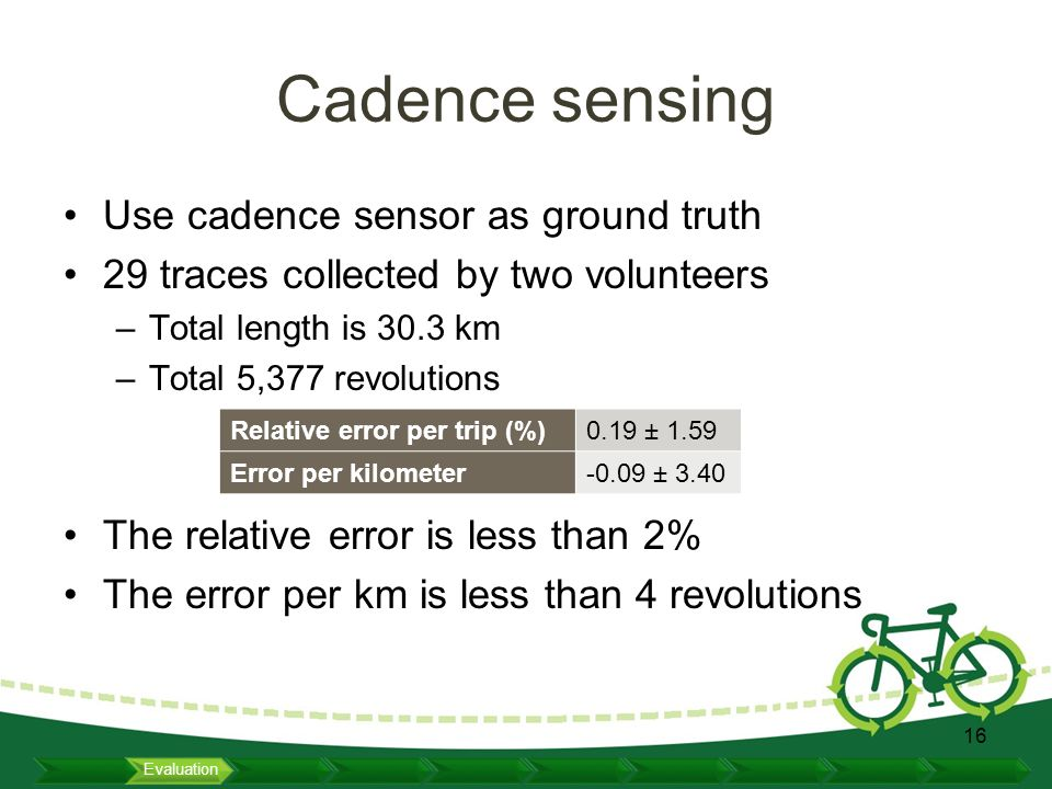 Cadence sensing Use cadence sensor as ground truth 29 traces collected by two volunteers –Total length is 30.3 km –Total 5,377 revolutions The relative error is less than 2% The error per km is less than 4 revolutions 16 Relative error per trip (%)0.19 ± 1.59 Error per kilometer-0.09 ± 3.40 Evaluation