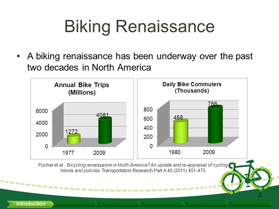 Biking Renaissance A biking renaissance has been underway over the past two decades in North America 2 Pucher et al., Bicycling renaissance in North America.