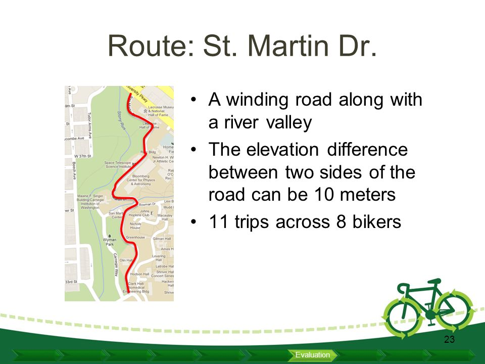 Route: St. Martin Dr. A winding road along with a river valley The elevation difference between two sides of the road can be 10 meters 11 trips across