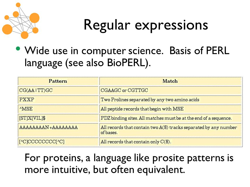 Regular expressions Wide use in computer science. Basis of PERL language (see also BioPERL).