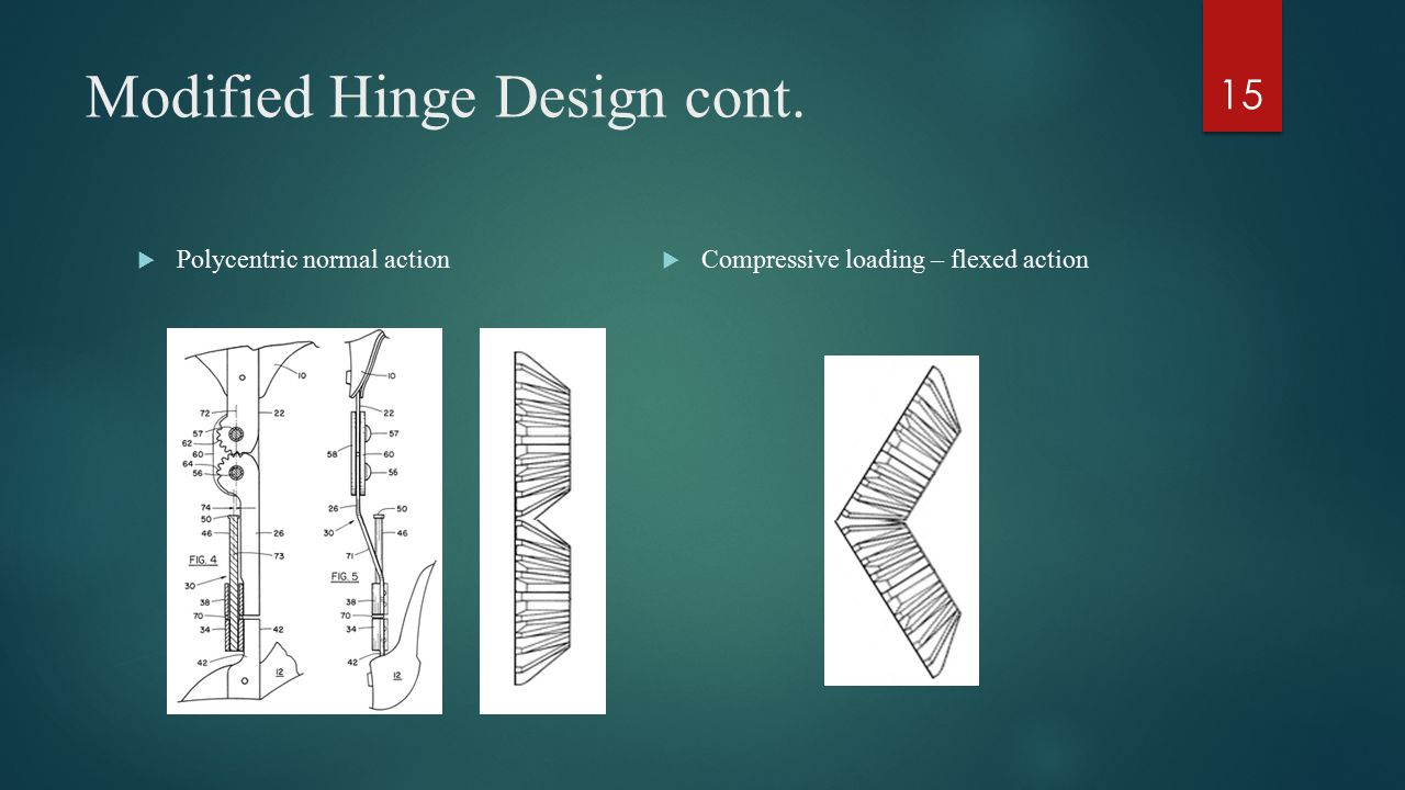 Modified Hinge Design cont.  Polycentric normal action  Compressive loading – flexed action 15