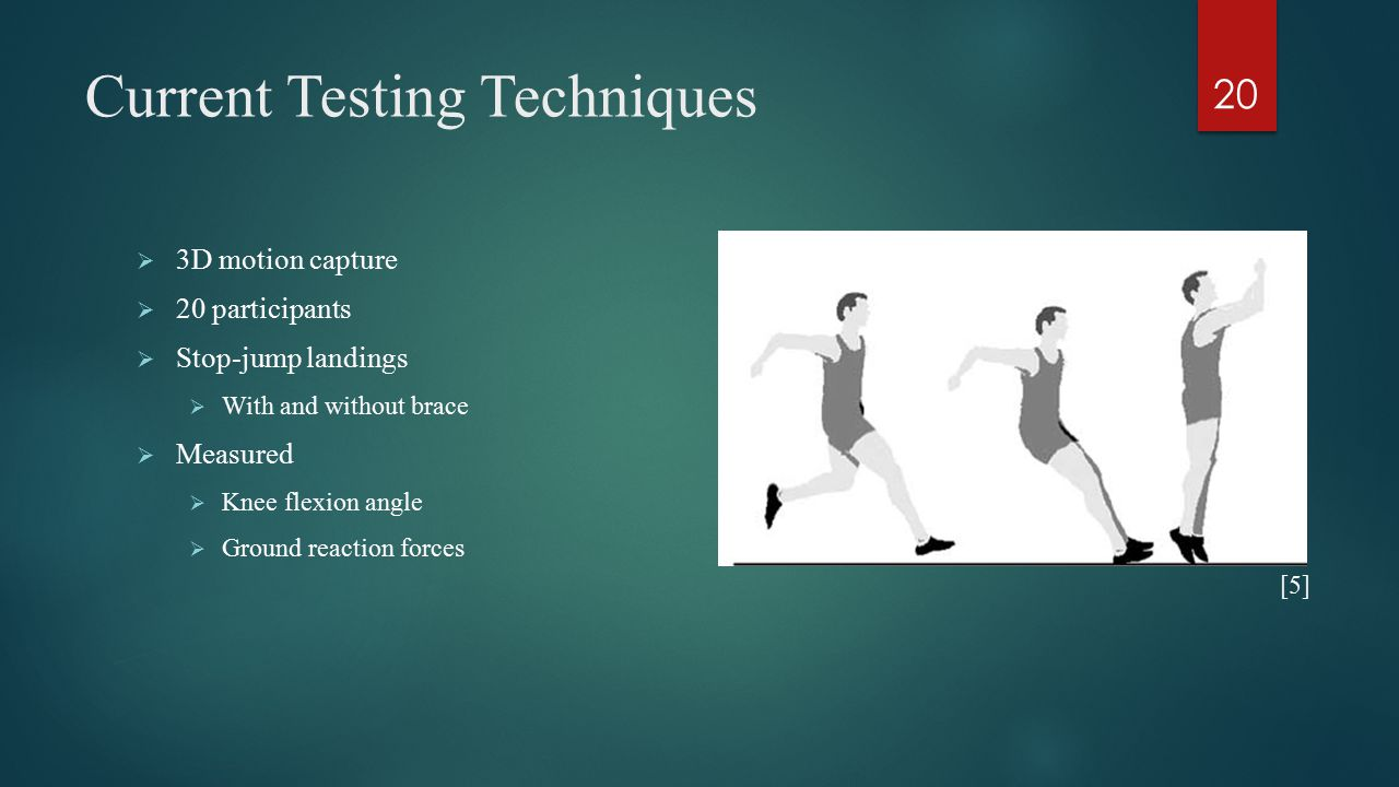 Current Testing Techniques  3D motion capture  20 participants  Stop-jump landings  With and without brace  Measured  Knee flexion angle  Ground reaction forces 20 [5]