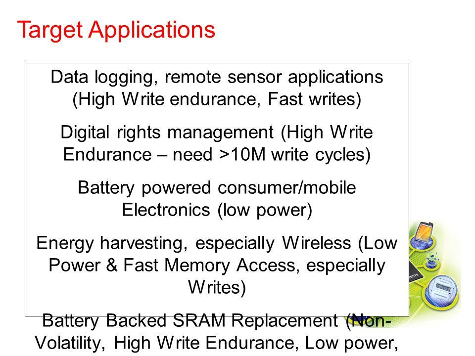 Data logging, remote sensor applications (High Write endurance, Fast writes) Digital rights management (High Write Endurance – need >10M write cycles)