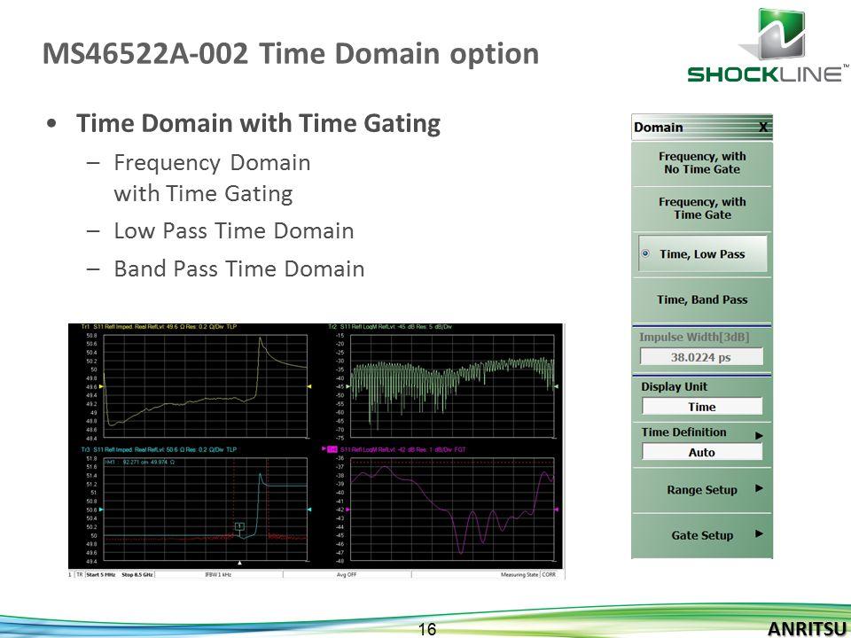 ANRITSU 16 ANRITSU MS46522A-002 Time Domain option Time Domain with Time Gating –Frequency Domain with Time Gating –Low Pass Time Domain –Band Pass Ti