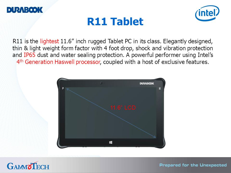 R11 is the lightest 11.6 inch rugged Tablet PC in its class.