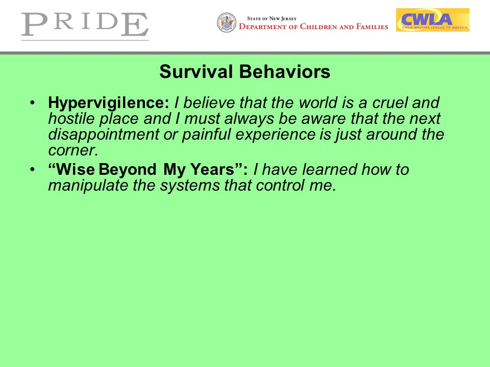 Survival Behaviors Hypervigilence: I believe that the world is a cruel and hostile place and I must always be aware that the next disappointment or painful experience is just around the corner.