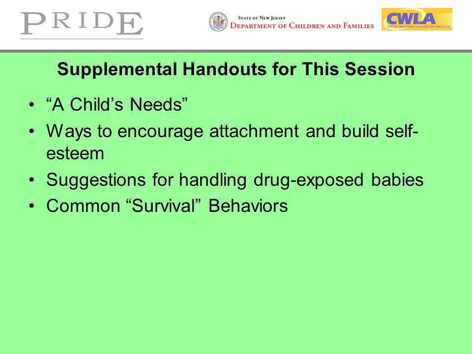 Supplemental Handouts for This Session A Child's Needs Ways to encourage attachment and build self- esteem Suggestions for handling drug-exposed babies Common Survival Behaviors