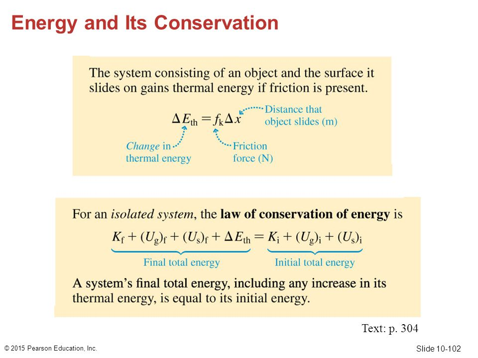 Slide 10-102 Energy and Its Conservation © 2015 Pearson Education, Inc. Text: p. 304