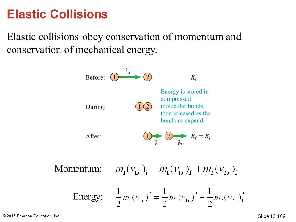 Slide 10-109 Elastic Collisions Elastic collisions obey conservation of momentum and conservation of mechanical energy. © 2015 Pearson Education, Inc.