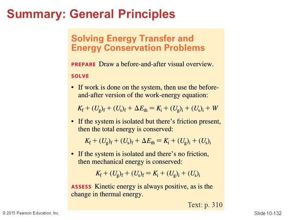 Slide 10-132 Summary: General Principles © 2015 Pearson Education, Inc. Text: p. 310