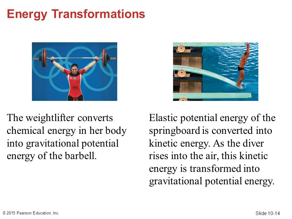 Slide 10-14 Energy Transformations The weightlifter converts chemical energy in her body into gravitational potential energy of the barbell. Elastic p