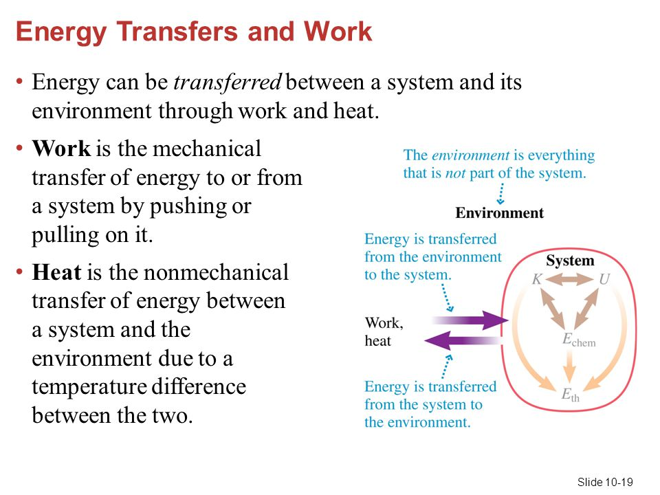 Slide 10-19 Energy Transfers and Work Energy can be transferred between a system and its environment through work and heat. Work is the mechanical tra