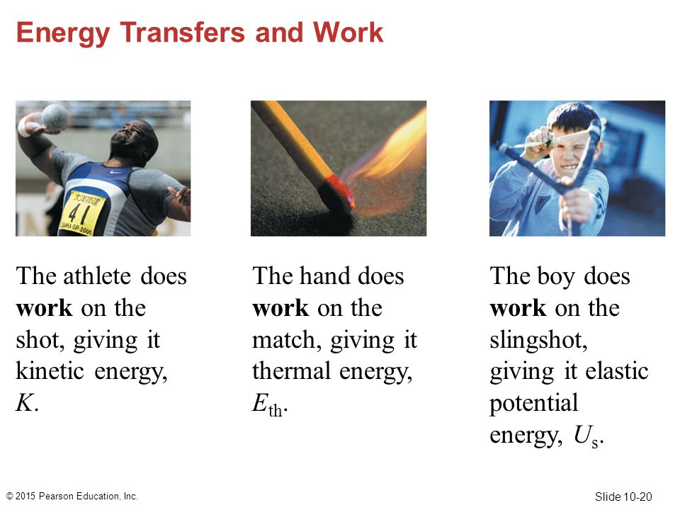 Slide 10-20 Energy Transfers and Work The athlete does work on the shot, giving it kinetic energy, K. © 2015 Pearson Education, Inc. The hand does wor