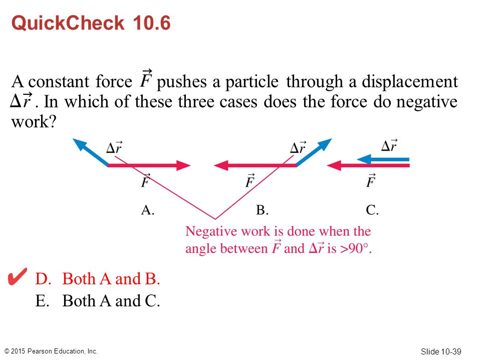 Slide 10-39 QuickCheck 10.6 A constant force pushes a particle through a displacement. In which of these three cases does the force do negative work?