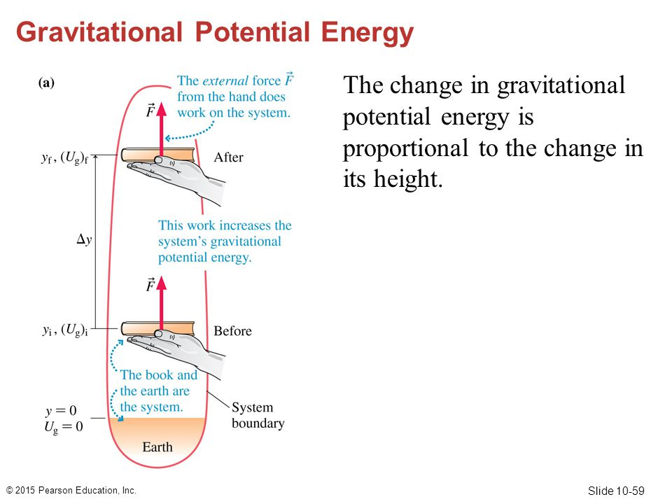 Slide 10-59 Gravitational Potential Energy The change in gravitational potential energy is proportional to the change in its height. © 2015 Pearson Ed