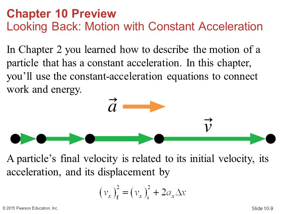 Slide 10-50 Example 10.5 Speed of a bobsled after pushing (cont.) SOLVE From the work-energy equation, Equation 10.3, the change in the sled's kinetic energy is ΔK = K f  K i = W.