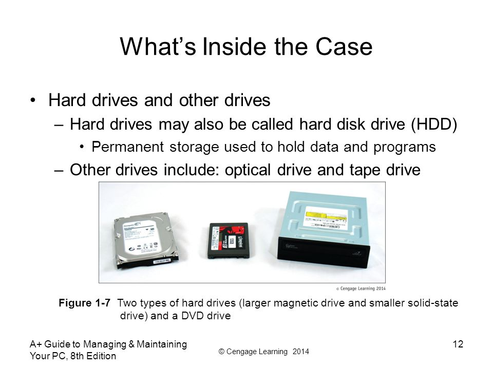 © Cengage Learning 2014 What's Inside the Case Hard drives and other drives –Hard drives may also be called hard disk drive (HDD) Permanent storage used to hold data and programs –Other drives include: optical drive and tape drive A+ Guide to Managing & Maintaining Your PC, 8th Edition 12 Figure 1-7 Two types of hard drives (larger magnetic drive and smaller solid-state drive) and a DVD drive