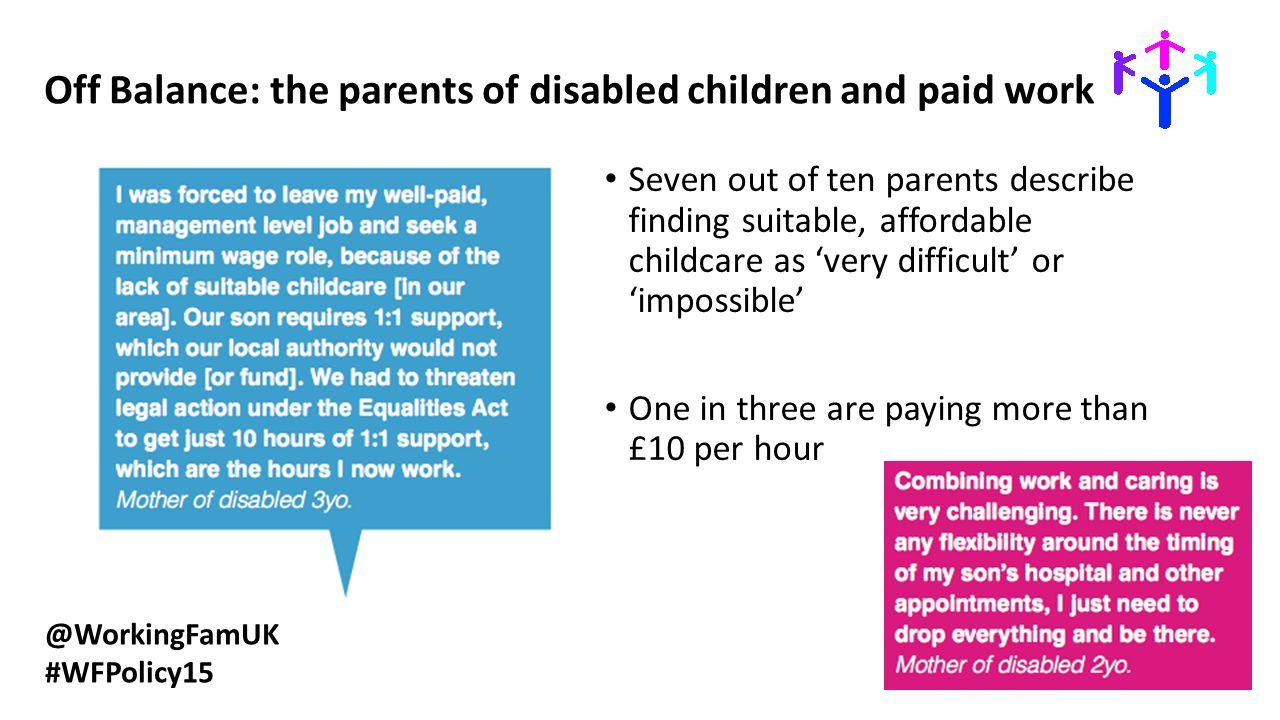 @WorkingFamUK #WFPolicy15 Off Balance: the parents of disabled children and paid work Seven out of ten parents describe finding suitable, affordable c