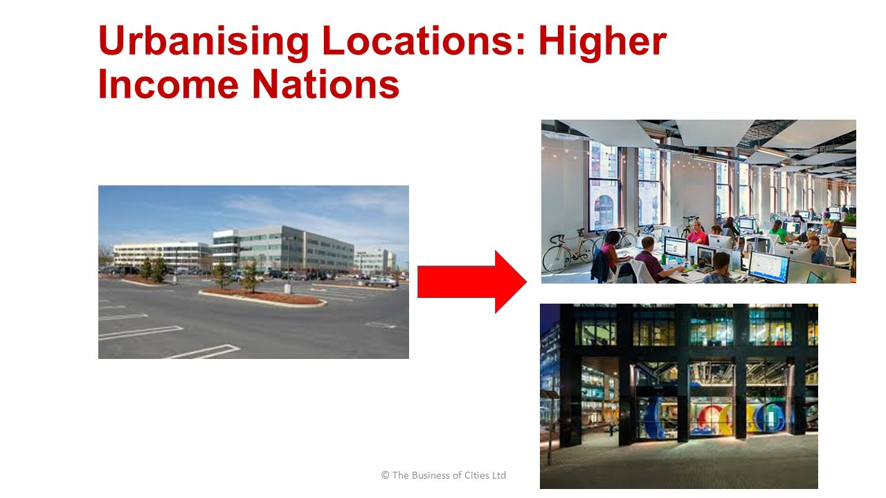 Urbanising Locations: Higher Income Nations © The Business of Cities Ltd