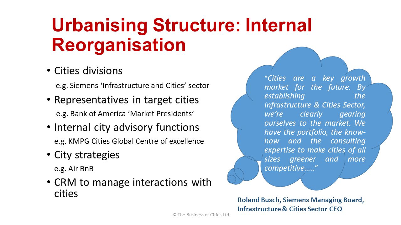 Urbanising Structure: Internal Reorganisation Cities divisions e.g.