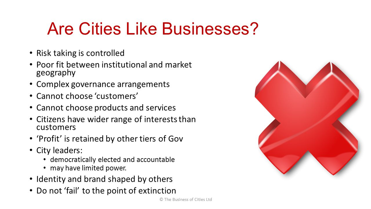 Are Cities Like Businesses.