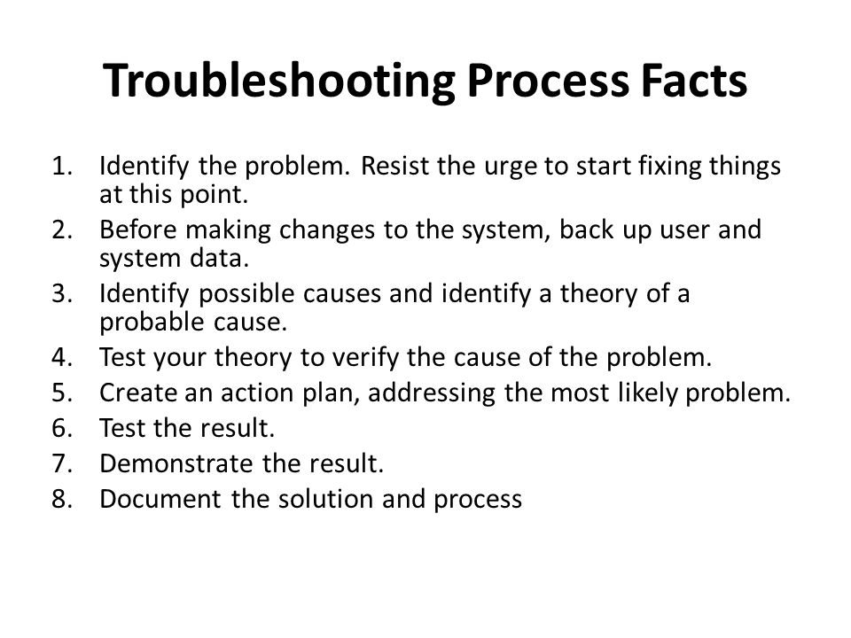 Troubleshooting Process Facts 1.Identify the problem.