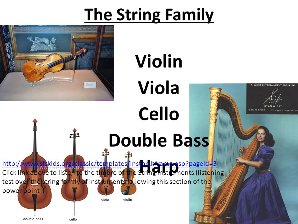 The String Family Violin Viola Cello Double Bass Harp http://www.sfskids.org/classic/templates/instorchframe.asp?pageid=3 Click link above to listen to the timbre of the String instruments (listening test over the string family of instruments following this section of the power point!)
