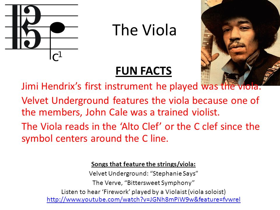 The Viola FUN FACTS Jimi Hendrix's first instrument he played was the viola. Velvet Underground features the viola because one of the members, John Ca