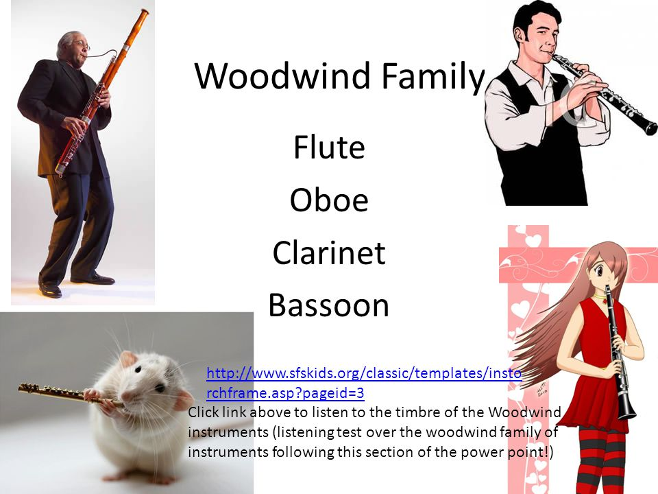Woodwind Family Flute Oboe Clarinet Bassoon Click link above to listen to the timbre of the Woodwind instruments (listening test over the woodwind family of instruments following this section of the power point!) http://www.sfskids.org/classic/templates/insto rchframe.asp?pageid=3