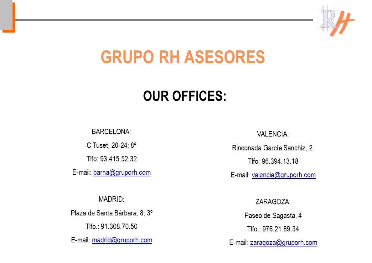 OUR OFFICES: GRUPO RH ASESORES BARCELONA: C Tuset, 20-24; 8º Tlfo: 93.415.52.32 E-mail: barna@gruporh.com barna@gruporh.com MADRID: Plaza de Santa Bárbara, 8; 3º Tlfo.: 91.308.70.50 E-mail: madrid@gruporh.com VALENCIA: Rinconada García Sanchiz, 2.