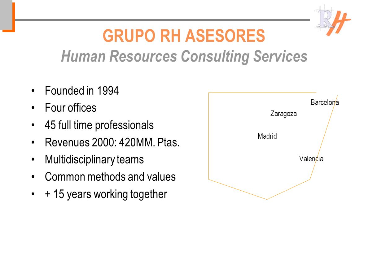 GRUPO RH ASESORES Human Resources Consulting Services Founded in 1994 Four offices 45 full time professionals Revenues 2000: 420MM.