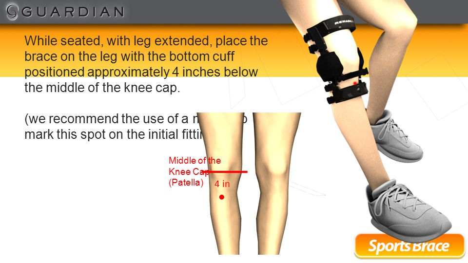 Secure the upper thigh strap (strap marked #1) by inserting the clip on the end of the strap into the buckle on the brace.
