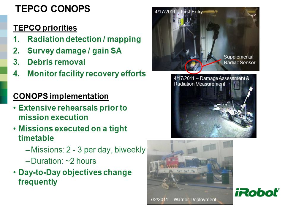 TEPCO CONOPS TEPCO priorities 1.Radiation detection / mapping 2.Survey damage / gain SA 3.Debris removal 4.Monitor facility recovery efforts CONOPS im