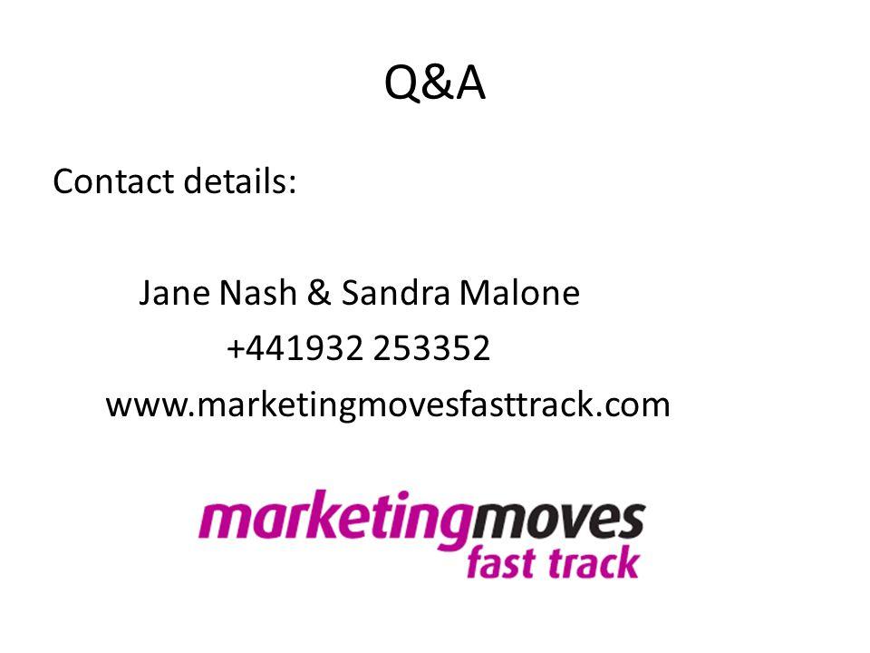 Q&A Contact details: Jane Nash & Sandra Malone +441932 253352 www.marketingmovesfasttrack.com