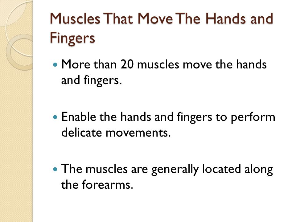 Muscles That Move The Hands and Fingers More than 20 muscles move the hands and fingers. Enable the hands and fingers to perform delicate movements. T