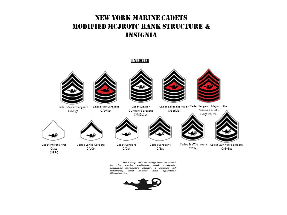 New York Marine Cadets Modified MCJROTC Rank Structure & Insignia officer Warrant officer Cadet Major C/Maj Cadet Lieutenant Colonel C/LtCol Cadet Colonel C/Col Cadet Second Lieutenant C/2ndLt Cadet First Lieutenant C/1st Lt Cadet Captain C/Cpt Cadet Warrant Officer C/WO