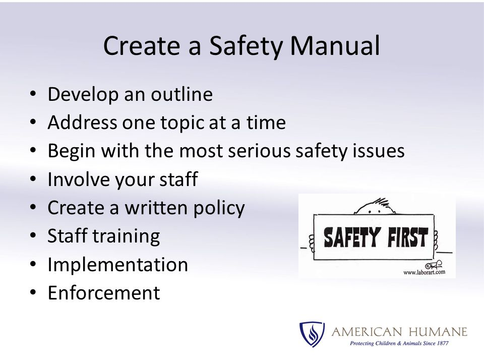 Create a Safety Manual Develop an outline Address one topic at a time Begin with the most serious safety issues Involve your staff Create a written policy Staff training Implementation Enforcement