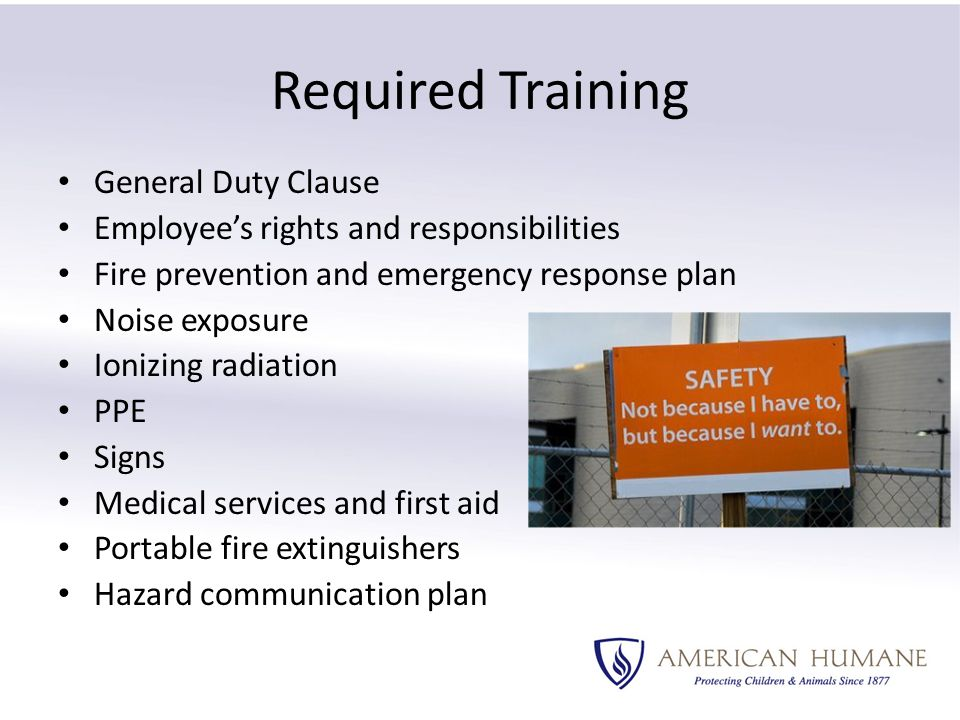 Required Training General Duty Clause Employee's rights and responsibilities Fire prevention and emergency response plan Noise exposure Ionizing radiation PPE Signs Medical services and first aid Portable fire extinguishers Hazard communication plan