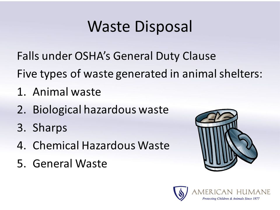 Waste Disposal Falls under OSHA's General Duty Clause Five types of waste generated in animal shelters: 1.Animal waste 2.Biological hazardous waste 3.Sharps 4.Chemical Hazardous Waste 5.General Waste